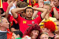 A dejected belgium fan