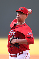 Starting pitcher Bryan Mata (21) of the Greenville Drive delivers a pitch in a game against the Kannapolis Intimidators on Friday, July 14, 2017, at Fluor Field at the West End in Greenville, South Carolina. Greenville won, 2-0. (Tom Priddy/Four Seam Images)