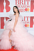 Dua Lipa<br /> arriving for the BRIT Awards 2018 at the O2 Arena, Greenwich, Leicester Square, London<br /> <br /> ©Ash Knotek  D3383  21/02/2018<br /> <br /> *photos for editorial use only in connection with the BRITs*