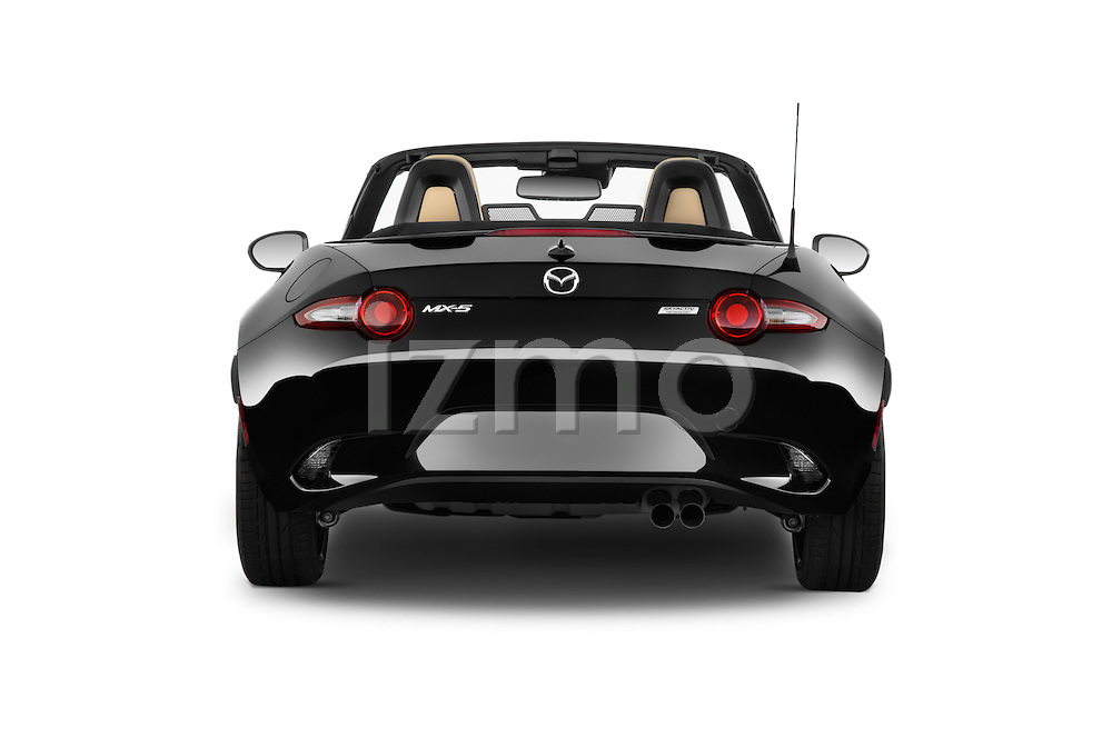 Straight rear view of 2017 Mazda MX-5 Miata Grand Touring 2 Door Convertible Rear View  stock images