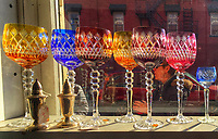 Antique glass items in the window of Westerville Antiques.