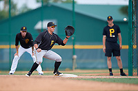 Pittsburgh Pirates Mason Martin (7) waits for a throw during an Instructional League intrasquad black and gold game on September 28, 2017 at Pirate City in Bradenton, Florida.  (Mike Janes/Four Seam Images)