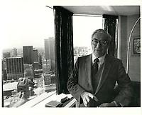 Guy Bernier,  chef de la direction de la Federation des caisses populaires Desjardins de Montreal et de l'Ouest du Quebec, le 5 juin 1980<br /> <br /> Il devint  president d'octobre 1986 a fevrier 1989<br /> <br /> PHOTO : Agence Quebec Presse