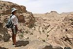 . View ont the Dead sea from the trek between Deir and Little Petra Petra. Jordan