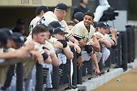 Christian Long (19) of the Wake Forest Demon Deacons watches from the dugout during the game against the Miami Hurricanes at David F. Couch Ballpark on May 11, 2019 in  Winston-Salem, North Carolina. The Hurricanes defeated the Demon Deacons 8-4. (Brian Westerholt/Four Seam Images)