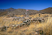 Ruins of Fort Bowie built at Apache Pass in 1862 to protect stage coaches and travelers on the Butterfield Overland Trail and pioneers from Apache raids and skirmishes. Fort Bowie National Historic Site near Bowie, AZ. Bowie Arizona USA Apache Pass.