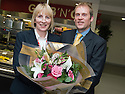 16/11/2010   Copyright  Pic : James Stewart.034_kitchen_opening  .::  SERCO ::  FORTH VALLEY ROYAL HOSPITAL RESTAURANT GRAND OPENING :: MIKE MACKAY PRESENTS ANNE DAVIDSON WITH A BOUQUET OF FLOWERS AT THE OFFICIAL OPENING OF THE NEW FORTH VALLEY ROYAL HOSPITAL KITCHEN  ::
