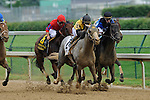 13 June 2009: Macho Again (yellow silks) with Robbie Albardado up does battle in the stretch with Julien Lepraroux and Einstein (blue/blk) in the 28th running of the Grade 1 Stephen Foster Handicap at Churchill Downs in Louisville, Kentucky.