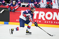 22nd May 2021, Riga Olympic Sports Centre Latvia; 2021 IIHF Ice hockey, Eishockey World Championship, Great Britain versus Russia;  14 Liam Kirk Great Britain before he opens the scoring for Great Britain.