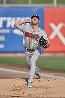 Nashville Sounds starting pitcher James Naile (22) throws in the bullpen before the game against the Salt Lake Bees at Smith's Ballpark on July 28, 2018 in Salt Lake City, Utah. The Bees defeated the Sounds 11-6. (Stephen Smith/Four Seam Images)