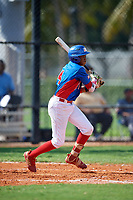 Yordany De Los Santos (4) during the Dominican Prospect League Elite Florida Event at Pompano Beach Baseball Park on October 14, 2019 in Pompano beach, Florida.  (Mike Janes/Four Seam Images)