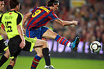 Football Season 2009-2010. Barcelona's player Zlatan Ibrahimovic (R) is challanged against Zaragoza's  Pavon (L) during their Spanish first division soccer match at Camp Nou stadium in Barcelona October 25, 2009
