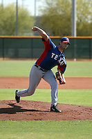 Michael Matuella pitches for the Texas Rangers against the Cincinnati Reds in an extended spring training game at the Reds training complex on June 8, 2016 in Goodyear, Arizona. Drafted by the Rangers in the second round in 2015, Matuella was pitching in his first game action since undergoing Tommy John surgery in April 2015 (Bill Mitchell)