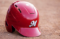 Memphis Redbirds helmet on April 24, 2014 at the Dell Diamond in Round Rock, Texas. The Express defeated the Redbirds 6-2. (Andrew Woolley/Four Seam Images)