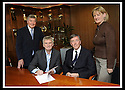 23/06/2008   Copyright Pic: James Stewart.File Name : 01_stadium_signing.SANDY ALEXANDER, SOUTH STAND DEVELOPMENT COMPANY, SIGNS THE AGREEMENT WHICH WILL SEE THE COMMENCEMENT OF THE BUILDING OF THE NEW SOUTH STAND AT THE FALKIRK COMMUNITY STADIUM..... LEFT TO RIGHT : CAMPBELL CHRISTIE, CHAIRMAN FALKIRK FC, SANDY ALEXANDER, SOUTH STAND DEVELOPMENT COMPANY, MERVYN JONES, CHAIRMAN FALKIRK COMMUNITY STADIUM LTD AND LINDA GOW. LEADER OF FALKIRK COUNCIL.James Stewart Photo Agency 19 Carronlea Drive, Falkirk. FK2 8DN      Vat Reg No. 607 6932 25.Studio      : +44 (0)1324 611191 .Mobile      : +44 (0)7721 416997.E-mail  :  jim@jspa.co.uk.If you require further information then contact Jim Stewart on any of the numbers above........
