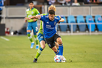SAN JOSE, CA - MAY 12: Eric Remedi #5 of the San Jose Earthquakes protects the ball during a game between San Jose Earthquakes and Seattle Sounders FC at PayPal Park on May 12, 2021 in San Jose, California.