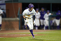 Will Prater (5) of the Western Carolina Catamounts hustles down the first base line against the St. John's Red Storm at Childress Field on March 13, 2021 in Cullowhee, North Carolina. (Brian Westerholt/Four Seam Images)