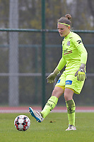 Zulte Waregem's goalkeeper Ianthe Meersschaert  pictured during a female soccer game between SV Zulte - Waregem and White Star Woluwe on the 9th matchday of the 2020 - 2021 season of Belgian Scooore Women s SuperLeague , saturday 12 th of December 2020  in Waregem , Belgium . PHOTO SPORTPIX.BE | SPP | DIRK VUYLSTEKE