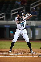 Salt River Rafters Seth Beer (8), of the Arizona Diamondbacks organization, at bat during an Arizona Fall League game against the Mesa Solar Sox on September 27, 2019 at Salt River Fields at Talking Stick in Scottsdale, Arizona. Salt River defeated Mesa 6-1. (Zachary Lucy/Four Seam Images)