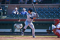 Surprise Saguaros second baseman Brandon Lowe (11), of the Tampa Bay Rays organization, at bat in front of Chad Tromp (55) during an Arizona Fall League game against the Scottsdale Scorpions on October 27, 2017 at Scottsdale Stadium in Scottsdale, Arizona. The Scorpions defeated the Saguaros 6-5. (Zachary Lucy/Four Seam Images)