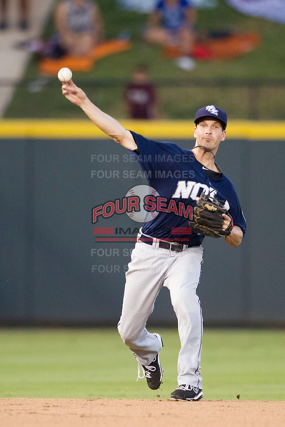 New Orleans Zephyrs shortstop Nick Green (1) makes a throw to first base during the Pacific Coast League baseball game against the Round Rock Express on June 30, 2013 at the Dell Diamond in Round Rock, Texas. Round Rock defeated New Orleans 5-1. (Andrew Woolley/Four Seam Images)