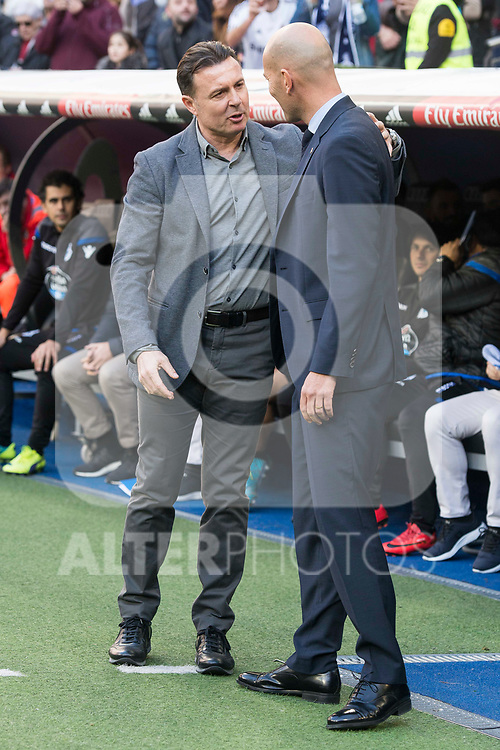 Real Madrid coach Zinedine Zidane and R.C. Deportivo coach Cristobal Parralo during La Liga match between Real Madrid and R. C. Deportivo at Santiago Bernabeu Stadium in Madrid, Spain. January 18, 2018. (ALTERPHOTOS/Borja B.Hojas)