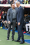 Real Madrid coach Zinedine Zidane and R.C. Deportivo coach Cristobal Parralo during La Liga match between Real Madrid and R. C. Deportivo at Santiago Bernabeu Stadium in Madrid, Spain. January 18, 2018. (ALTERPHOTOS/Borja B.Hojas)