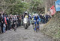 Preben Van Hecke (BEL/Sport Vlaanderen - Baloise) leading the race leaders up the infamous Muur van Geraardsbergen (1100m/7.6%)<br /> <br /> 72nd Omloop Het Nieuwsblad 2017