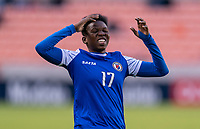 HOUSTON, TX - JANUARY 31: Mikerline Saint Felix #17 of Haiti reacts to a missed chance during a game between Haiti and Costa Rica at BBVA Stadium on January 31, 2020 in Houston, Texas.