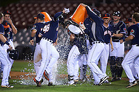 Connecticut Tigers first baseman Will Allen (46) has water dumped over him after a walk off base hit during the second game of a doubleheader against the Brooklyn Cyclones on September 2, 2015 at Senator Thomas J. Dodd Memorial Stadium in Norwich, Connecticut.  Connecticut defeated Brooklyn 2-1.  (Mike Janes/Four Seam Images)