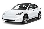 2021 Tesla Model-Y Long-Range-AWD 5 Door SUV Angular Front automotive stock photos of front three quarter view
