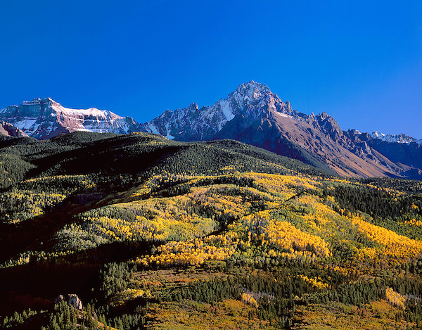 Mount Sneffels and autumn Aspen trees, Telluride, Colorado, USA John offers autumn photo tours throughout Colorado.
