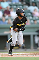 Outfielder J.R. Davis (6) of the West Virginia Power bats runs toward first base in a game against the Greenville Drive on Friday, May 17, 2019, at Fluor Field at the West End in Greenville, South Carolina. West Virginia won, 10-4. (Tom Priddy/Four Seam Images)