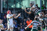 Steve Mafi of Leicester Tigers (right) grabs the high ball from Christian Day of Northampton Saints during the LV= Cup Final match between Leicester Tigers and Northampton Saints at Sixways Stadium, Worcester on Sunday 18 March 2012 (Photo by Rob Munro, Fotosports International)
