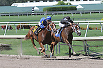 July 12, 2014: 2 year old #6 Slava (KY) with jockey Jose Valdivia Jr on board breaks her maiden by passing favorite #3 Frosty Girl (FL) at Gulfstream Park in Hallandale Beach FL. Liz Lamont/ESW/CSM