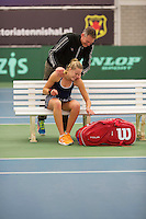 Rotterdam, The Netherlands, March 20, 2016,  TV Victoria, NOJK 14/18 years, Nina Kruijer (NED) wins girls 18 years and is congratulated by her coachcoa<br /> Photo: Tennisimages/Henk Koster