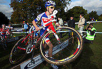 03 NOV 2012 - IPSWICH, GBR - Steven James (GBR) of Great Britain clears a hurdle during the Under 23 Men's European Cyclo-Cross Championships in Chantry Park, Ipswich, Suffolk, Great Britain (PHOTO (C) 2012 NIGEL FARROW)