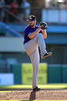 David Holmberg (19) of the Louisville Bats  delivers a pitch during the game versus the Pawtucket Red Sox at McCoy Stadium on May 30, 2015 in Pawtucket, Rhode Island.<br />