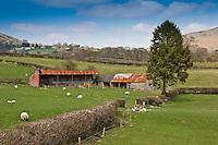 Metal barns at Llanrhaeadr-Ym-Mochnant, Wales.