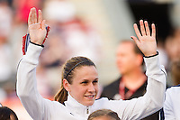 Heather O?Reilly (9) of the United States (USA) is introduced prior to playing China PR (CHN). The United States (USA) women defeated China PR (CHN) 4-1 during an international friendly at PPL Park in Chester, PA, on May 27, 2012.