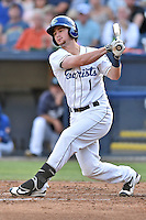 Asheville Tourists designated hitter Brendan Rodgers (1) swings at a pitch during a game against the West Virginia Power at McCormick Field on June 24, 2016 in Asheville, North Carolina. The Power defeated the Tourists 11-3. (Tony Farlow/Four Seam Images)