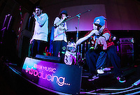 08 APR 2016 - STOWMARKET, GBR - Rye Shabby (right) Muckaniks and members of the Indigo Frequency label perform during a recording for BBC Introducing at the John Peel Centre for Creative Arts in Stowmarket, Suffolk, Great Britain (PHOTO COPYRIGHT © 2016 NIGEL FARROW, ALL RIGHTS RESERVED)