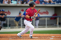 Pensacola Blue Wahoos first baseman Kyle Waldrop (15) at bat during the first game of a double header against the Biloxi Shuckers on April 26, 2015 at Pensacola Bayfront Stadium in Pensacola, Florida.  Biloxi defeated Pensacola 2-1.  (Mike Janes/Four Seam Images)