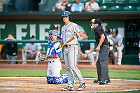 Coco Montes (19) of the Grand Junction Rockies bats against the Ogden Raptors at Lindquist Field on July 25, 2018 in Ogden, Utah. The Rockies defeated the Raptors 4-0. (Stephen Smith/Four Seam Images)