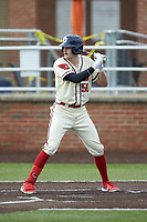 Eddie Pursinger (50) of the Dayton Flyers at bat against the Campbell Camels at Jim Perry Stadium on February 28, 2021 in Buies Creek, North Carolina. The Camels defeated the Flyers 11-2. (Brian Westerholt/Four Seam Images)