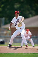 Auburn Doubledays starting pitcher Tomas Alastre (27) delivers a pitch during the first game of a doubleheader against the Mahoning Valley Scrappers on July 2, 2017 at Falcon Park in Auburn, New York.  Mahoning Valley defeated Auburn 3-0.  (Mike Janes/Four Seam Images)