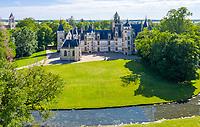 France, Cher, Berry, Route Jacques Coeur, Chateau de Meillant, castle and chapel (aerial view) // France, Cher (18), Berry, Route Jacques Coeur, Meillant, château de Meillant (vue aérienne)