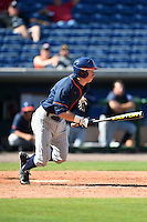 Cal State Fullerton Titans outfielder Hunter Cullen (33) at bat during a game against the Louisville Cardinals on February 15, 2015 at Bright House Field in Clearwater, Florida.  Cal State Fullerton defeated Louisville 8-6.  (Mike Janes/Four Seam Images)