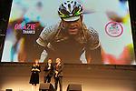 Pier Bergonzi and Chiara Francini honour Cadel Evans on his retirement at the Giro d'Italia 2015 presentation, Milan, Italy. 6th October 2014. <br /> Photo:Fabio Ferrari/LaPresse/www.newsfile.ie