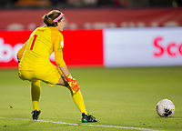 CARSON, CA - FEBRUARY 07: GK Stephanie Labbe #1 of Canada moves to the ball during a game between Canada and Costa Rica at Dignity Health Sports Complex on February 07, 2020 in Carson, California.